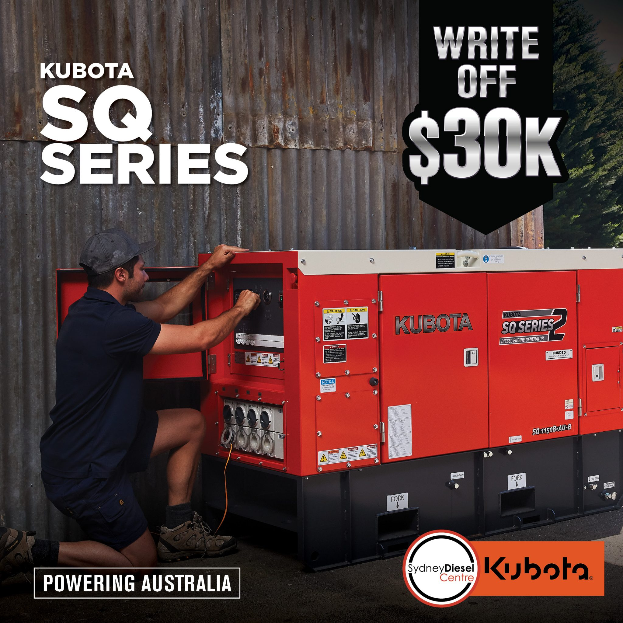 kubota engine power pack generator EOFY